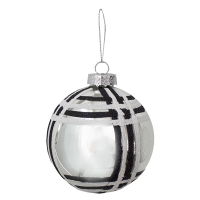 black and silver checker glass ball, 4'', Unit price