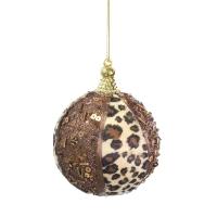 Boule ronde en velour léopard 4''