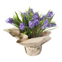 Bouquet de fleurs articielles en pot, jacinthes mauves