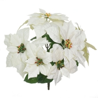 Bouquet poinsettias artificiels blancs 14''