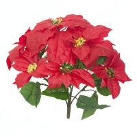 Bouquet poinsettias artificiels rouges 14''