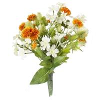 Bouquet lié de fleurs orange et blanches