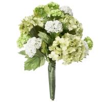 Bouquet lié d'hydrangées vertes et blanches