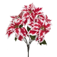 Bouquet de poinsettias rouges et blancs 21''