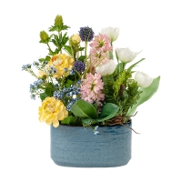 Spring Blooms Bouquet in Blue Vase