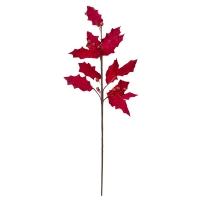 Branche de houx en velour rouge