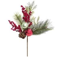 Branche de pin de 14'' avec boules et baies