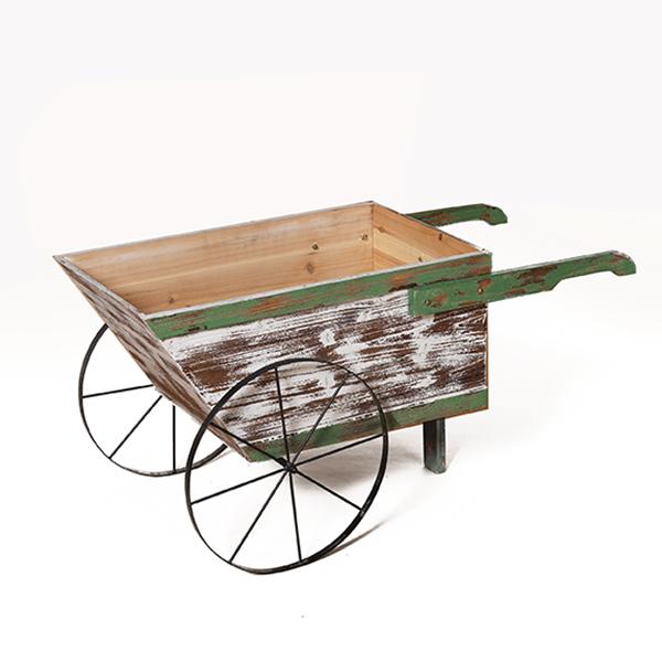 Brouette d corative en bois blanc lav sur roues 41 39 39 d cors v ronneau - Brouette bois decorative ...