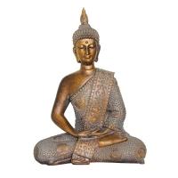 Bouddha assis or et blanc 8.2x3,9x11''