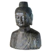 Buste de bouddha en ciment gris 18''