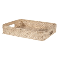 Rectangular bamboo tray with cut out handles 18 x 13''