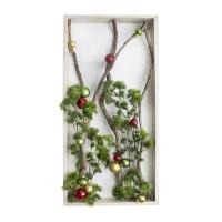 Cadre de Noël 20 x 40'', branches lumineuses et ornements.