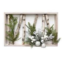 Cadre de Noël 26 x 17'', bouleaux lumineux