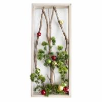 Cadre de Noël 34 x 14'', branches lumineuses et ornements.