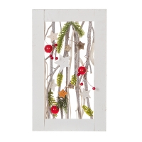 Christmas wall frame with branches and ornaments 15,5 x 12