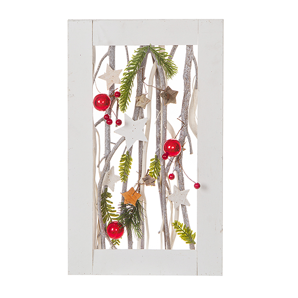 Christmas Wall Frame With Branches And Ornaments 155 X 12