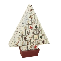 17,5'' Wood holiday countdown calendar with drawers