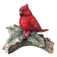 Resin cardinal on log, 6''