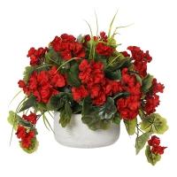Centre de Table, Fleurs Artificielles, Géraniums Rouges 14''