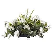 Centre de Table, Fleurs Artificielles, Géraniums Blancs 14''