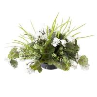 Centre de Table, Fleurs Artificielles, Géraniums Blancs 12''