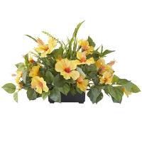 Centre de Table, Fleurs Artificielles, Hibiscus Jaunes 14''