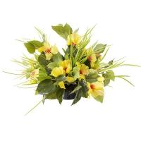 Centre de Table, Fleurs Artificielles, Hibiscus Jaunes 12''