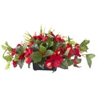 Centre de Table, Fleurs Artificielles, Hibiscus Rouges 14''