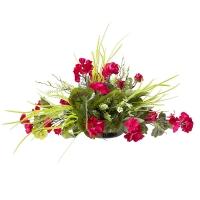 Centre de Table, Fleurs Artificielles, Géraniums Rouges 12''