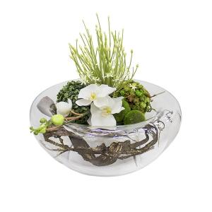 Centre de table zen 20 39 39 plantes et d cors v ronneau - Chemin de table en fleurs naturelles ...