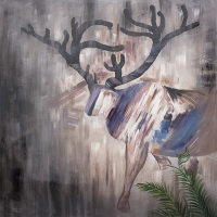 Abstract deer hand-painting 36 x 36''