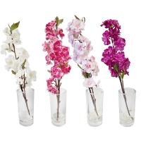 Cerisier en fleurs dans vase en verre 15'', 4 ass. Prix unit