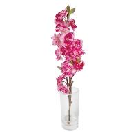 15'' Fushia sweet cherry blossom stem in glass vase