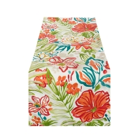 Outdoor tropical flower pattern table runner 13 x 72''
