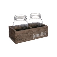 Contenant en bois avec vase en vitre de Noel 5,5 x 4 x 8''