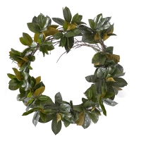 28'' Magnolia foliage on vine wreath