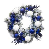 Couronne 32'' enneigé décorée bleue et blanche