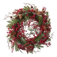 Cedar & Pine Wreath with Red Berries, 24''