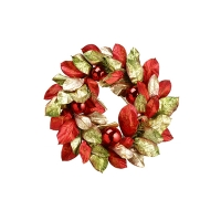 26'' Magnolia leaf wreath with ball ornament