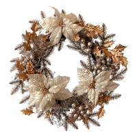 Pine Wreath with Poinsettias and Gold Berries, 24''