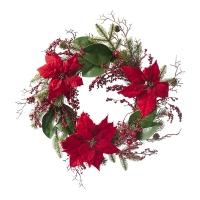 Pine Wreath with Poinsettias and Red Berries, 24''