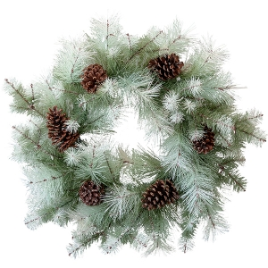 24'' Frosted Pine Wreath with Pine Cones