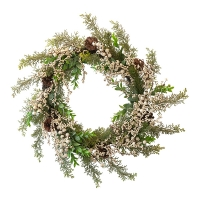 Frosted Pine Wreath with White Berries, 24''