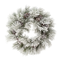26'' snowy wreath with pine cones