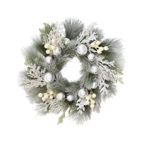 24'' Snowy white decorated wreath