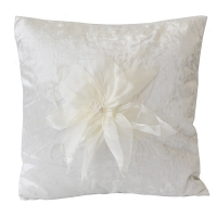 Beige square cushion with flowers 18x18''