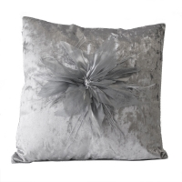 Grey square cushion with flowers 18x18''