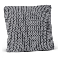 Grey cotton hand knitted square pillow 18 x 18''