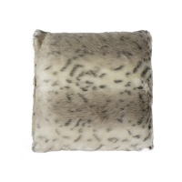 White spotted cushion in faux fur 18x18''