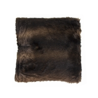 Brown spotted cushion in faux fur 18x18''